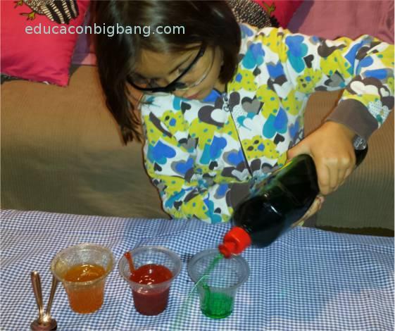 Llenando los vasos con los distintos líquidos