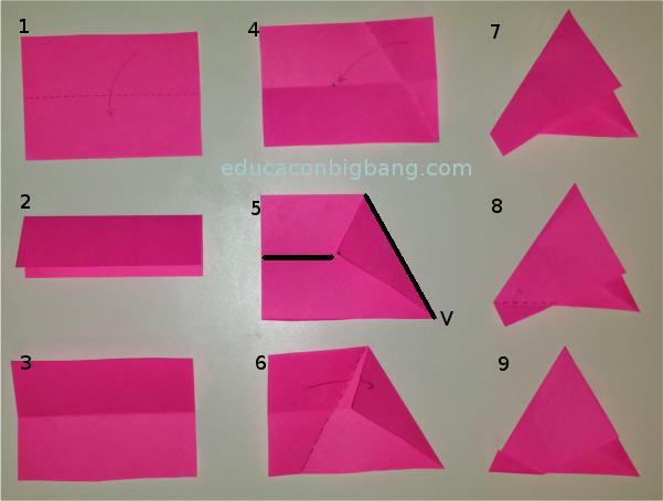 Instrucciones para hacer un triángulo equilátero de papel