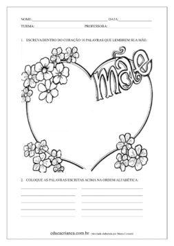 Dia Das Maes Atividades Para Imprimir Educa Crianca