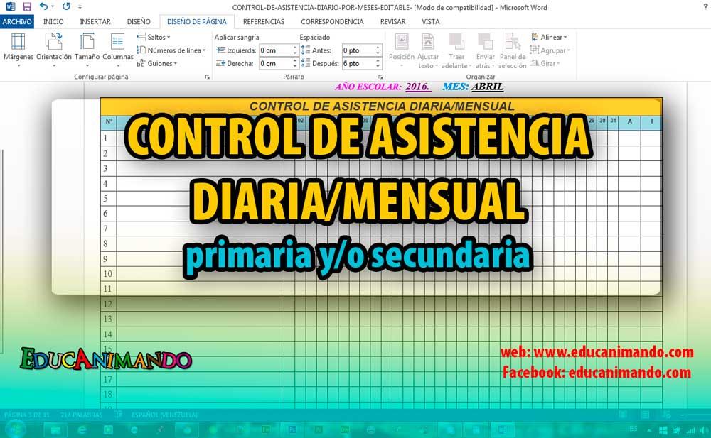 CONTROL DE ASISTENCIA DIARIA/MENSUAL en WORD/EXCEL Inicial ...