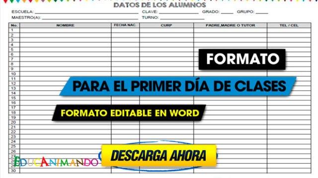 FORMATO PARA EL PRIMER DÍA DE CLASES   Material para maestros ...