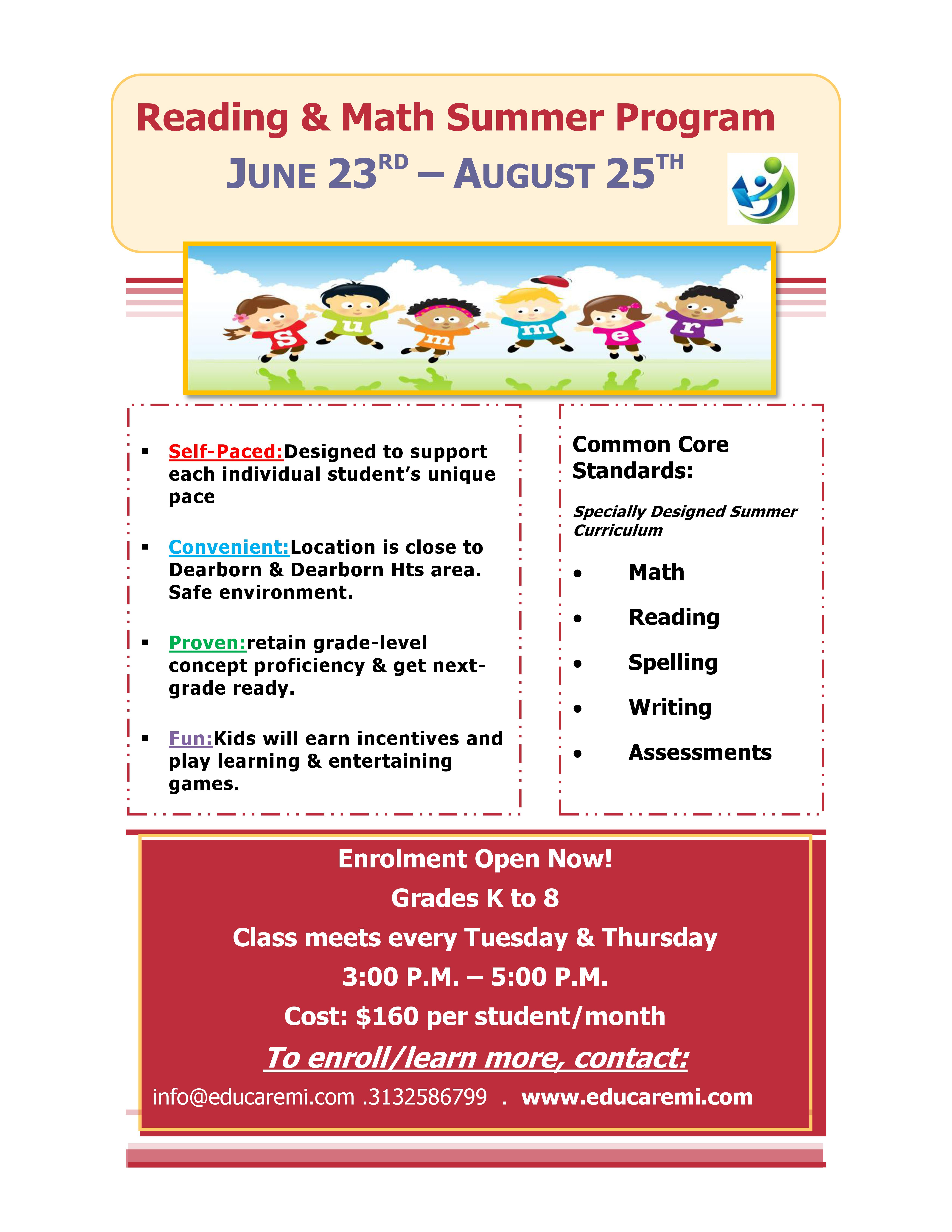 Reading Comprehension Amp Math Summer Program