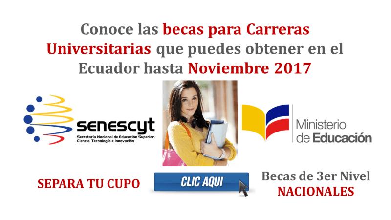 Conoce las becas para Carreras Universitarias que puedes obtener en el Ecuador hasta Noviembre 2017