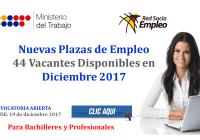 Nuevas Plazas de Empleo (44 Vacantes Disponibles en Diciembre 2017)
