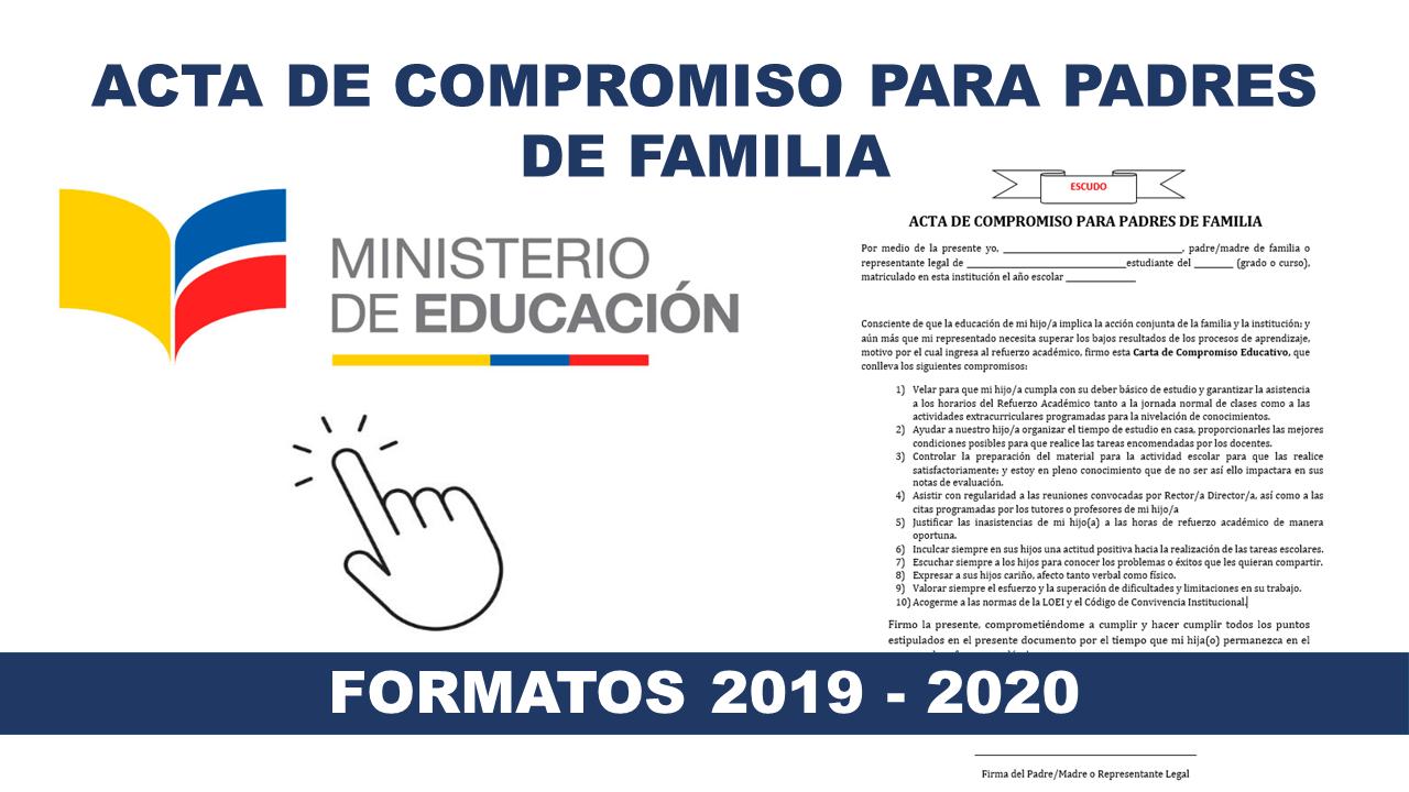 Acta De Compromiso Para Padres De Familia Formato 2018 2019