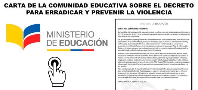 Carta de la Comunidad Educativa sobre el Decreto para Erradicar y Prevenir la Violencia