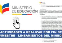Actividades a realizar por Fin de Quimestre - Lineamientos del MinEduc