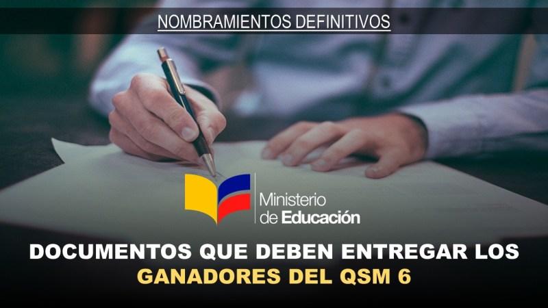 Documentos que deben entregar los ganadores del QSM 6
