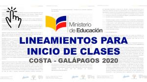 Lineamientos para Inicio de Clases Costa - Galápagos 2020
