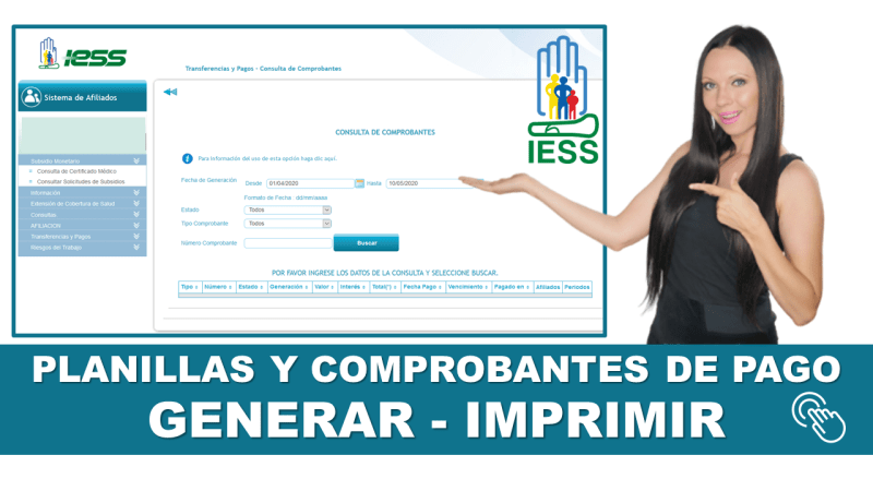 Planillas y Comprobantes de Pago IESS - Generar e Imprimir