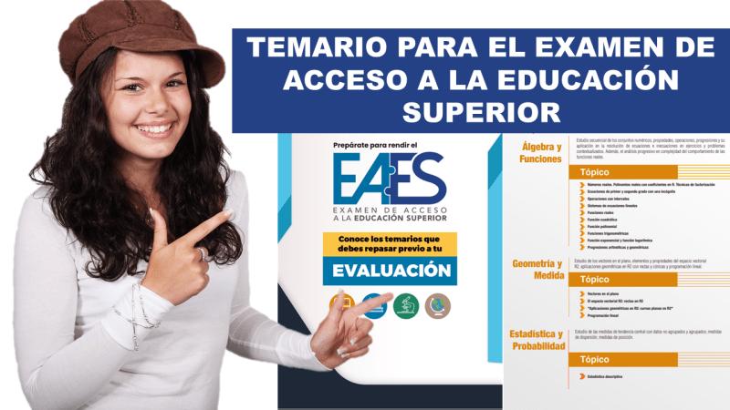 Temario para el Examen de Acceso a la Educación Superior eaes 2020