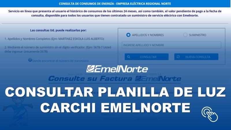 Consultar Planilla de Luz Carchi EMELNORTE