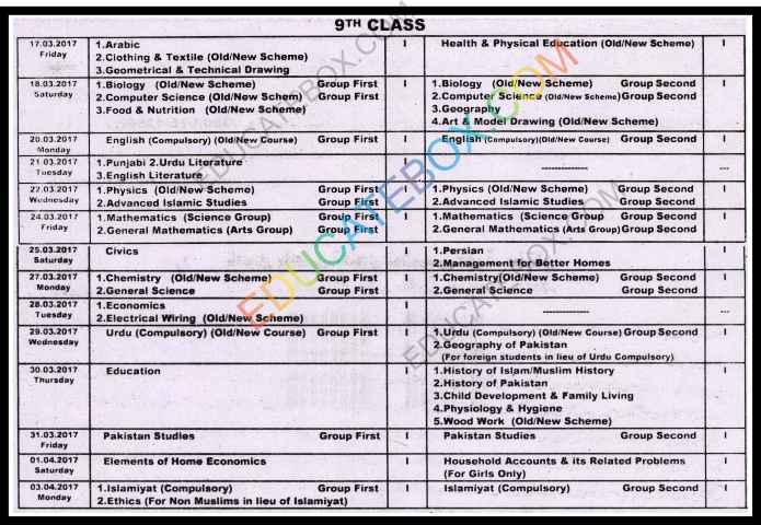 9th Class Date sheet 2017 Multan Board (BiseMultan)