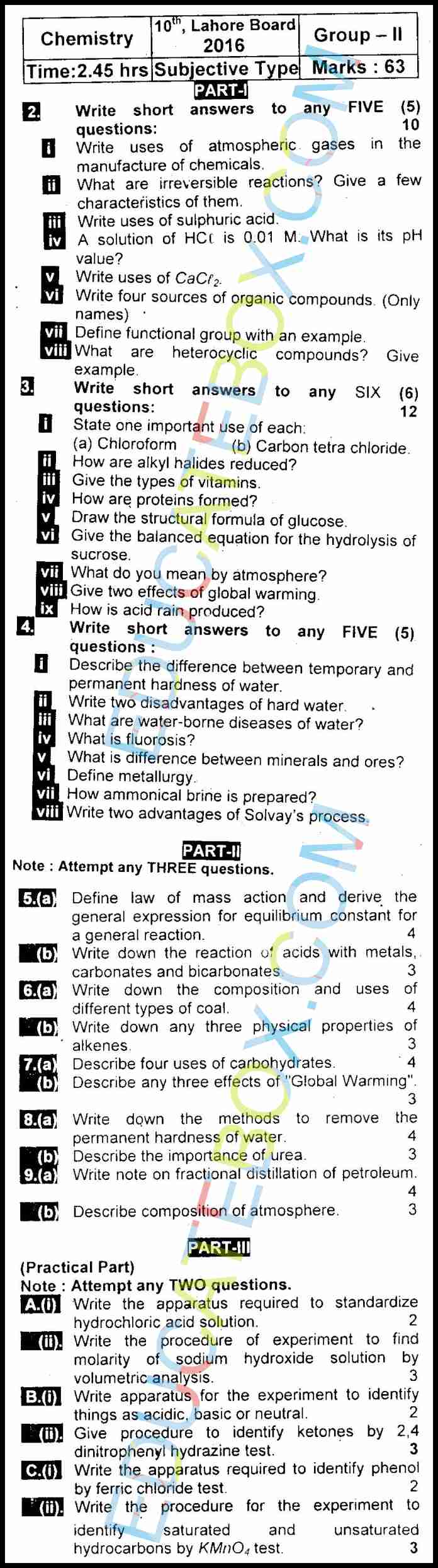 Past Paper Class 10 Chemistry Lahore Board 2016 Subjective Type Group 2