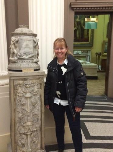 Janet admiring a Roman funeral urn