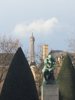 Rodin's 'The Thinker' with the Tour Eiffel in the background