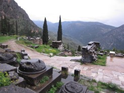 Delphi - offerings decorate the hillside