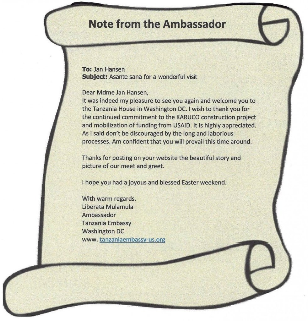 Note from Ambassador