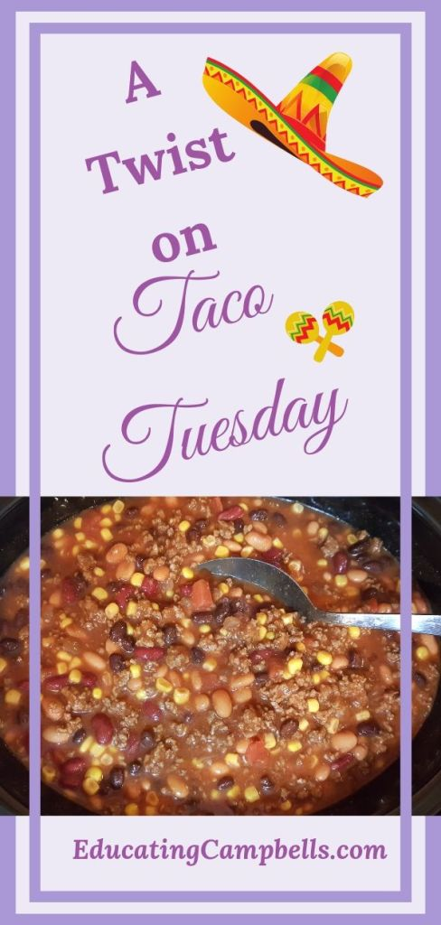 A twist on taco tuesday, taco soup pinterest image, crockpot of taco soup with text above