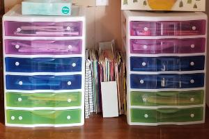 Organizing Homeschool Curriculum (plastic drawer storage)