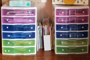 Organizing Homeschool Curriculum (plastic drawer storage)