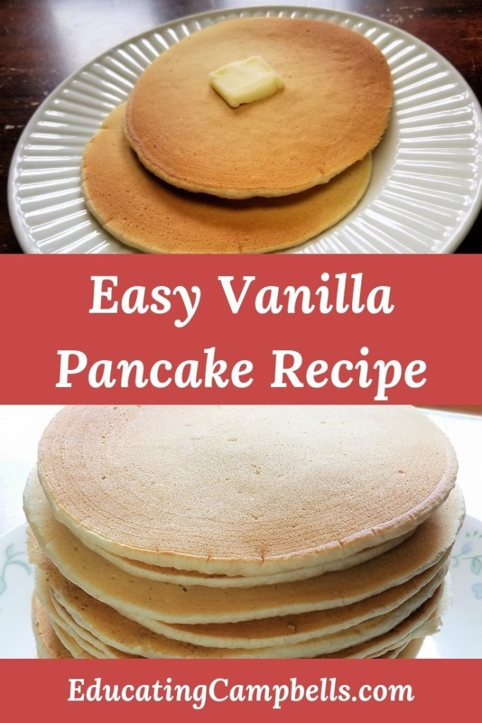 Pinterest Image -- Easy Vanilla Pancake Recipe, stacks of vanilla pancakes