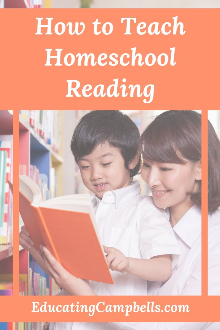 Pinterest Image - How to Teach Homeschool Reading, mother and child reading together