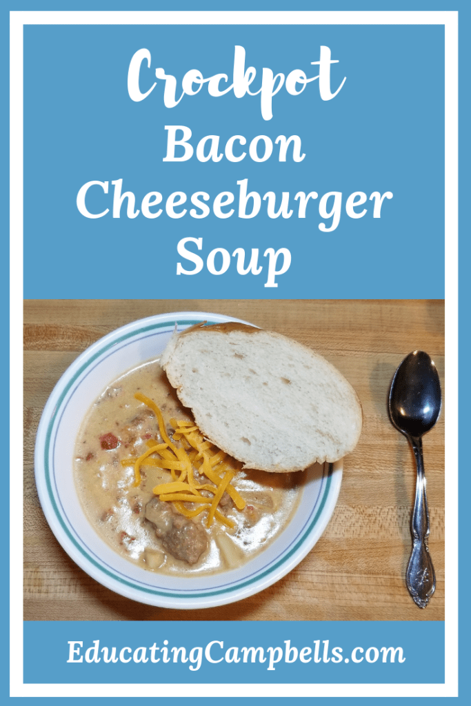 Pinterest Image of Crockpot Cheeseburger Soup