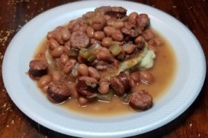 Instant Pot Pinto Beans on Hoe Cake