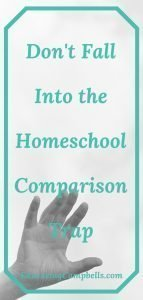 Pinterest Image -- Don't Fall Into the Homeschool Comparison Trap, hand reaching toward sky
