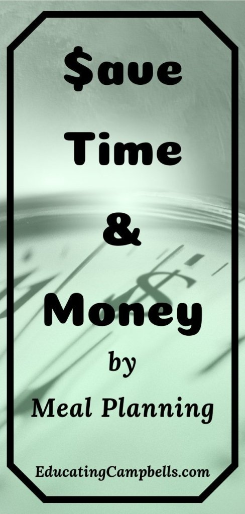 Pinterest Image -- Save Time & Money by Meal Planning, clock with $ in background, title in foreground