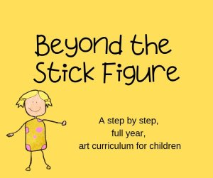 Beyond the Stick Figure Logo, yellow background with text overlay and drawn little girl