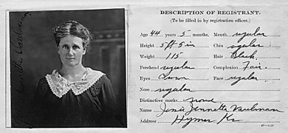 A Section of Jessie Varelmann's Enemy Alien Registration Affidavit