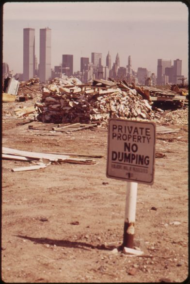 DESPITE WARNING SIGNS, ILLEGAL DUMPING CONTINUES IN THIS AREA JUST OFF THE NEW JERSEY TURNPIKE FACING MANHATTAN. BELOW THIS AREA TO THE SOUTH, IS THE LANDFILL SITE OF THE PROPOSED LIBERTY STATE PARK, 03/1973