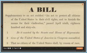 Screen Shot of Sumner Civil Rights Bill in DocsTeach Activity