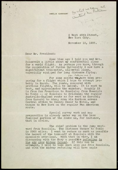 Letter from Earhart to Roosevelt