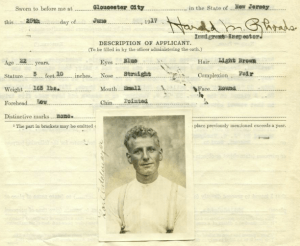 Portion of Application to Enter the United States with Photograph