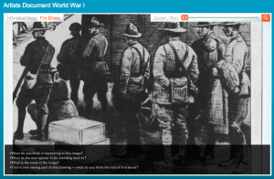 """Segment of Walter Jack Duncan's drawing """"Newly Arrived Troops Debarking at Brest"""""""