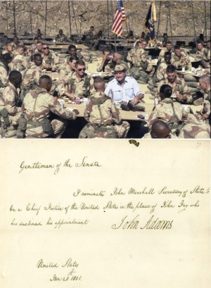 President George H. W. Bush Eating with Troops and Message of President Adams Nominating John Marshall to the Supreme Court