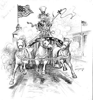 Uncle Sam driving a team of three horses
