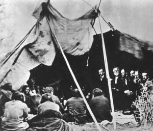 Sherman and Commissioners with Indian Chiefs at Fort Laramie