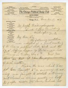 Letter from the Orange Political Study Club to Senator Joseph Frelinghoysen, page 1