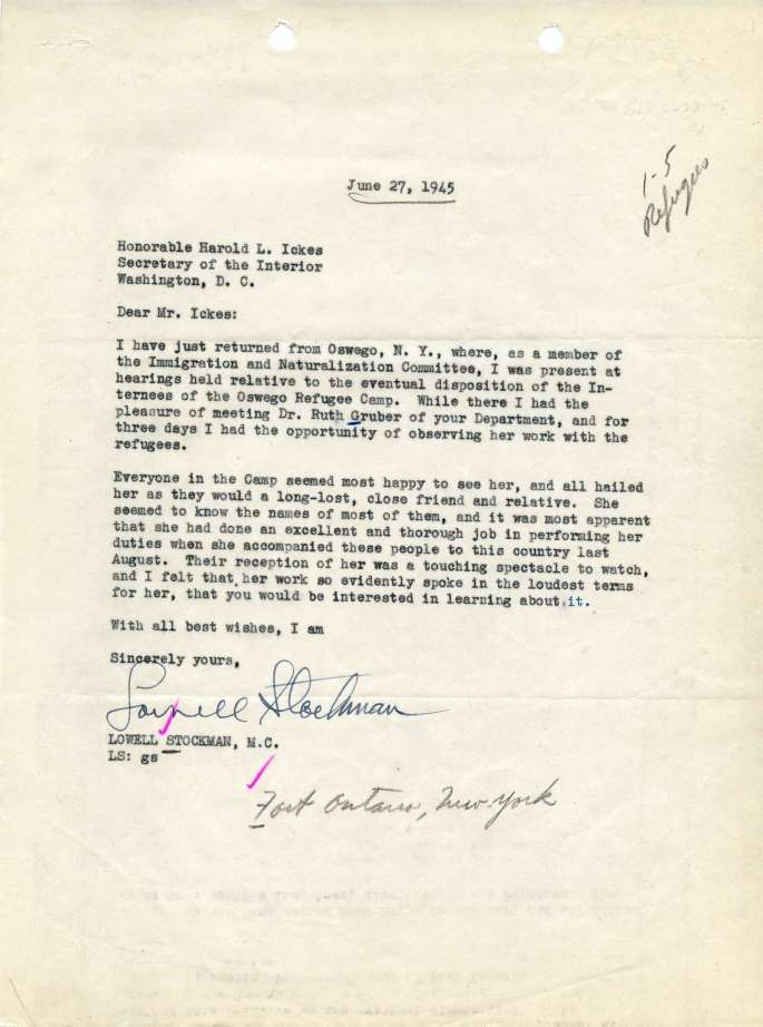 Letter from Congressman Lowell Stockman to Secretary of the Interior Harold Ickes about Fort Ontario
