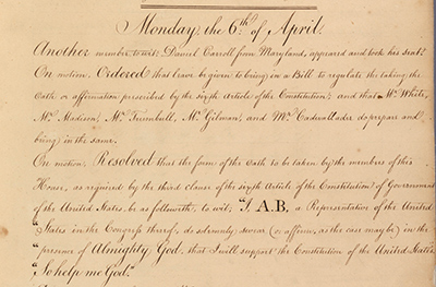 Section of the House journal from the First Congress