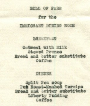 Bill of Fare for the Immigrant Dining Room at Ellis Island