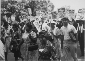 Marchers with signs