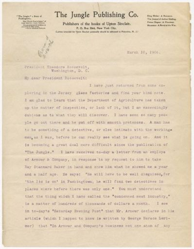 Letter to President Theodore Roosevelt