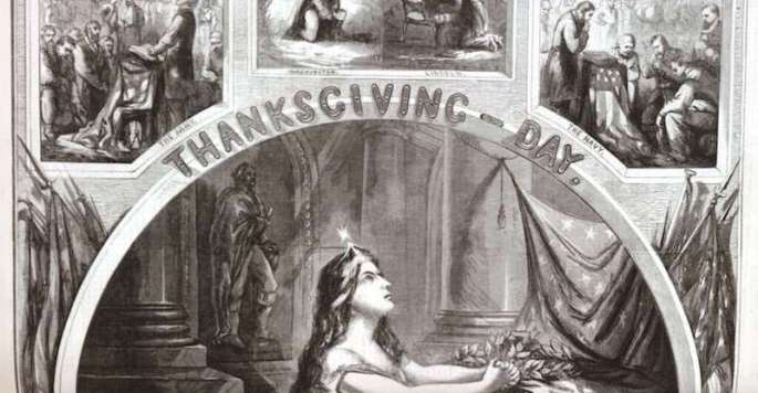 Thanksgiving Day with images of people praying and mourning