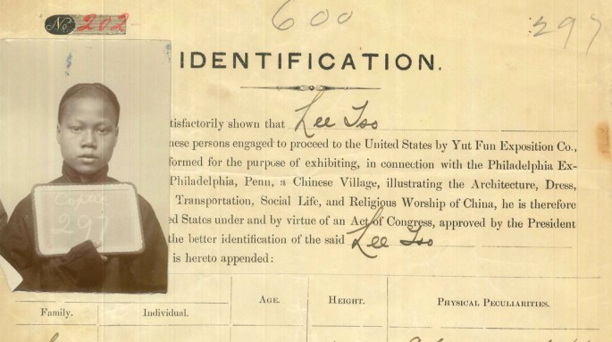 Photograph of Lee Tso attached to his identification papers