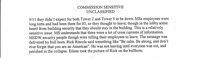 Excerpt from interview with Morgan Stanley staff about 9/11